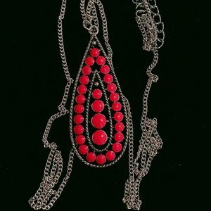 Long red beaded penar necklace